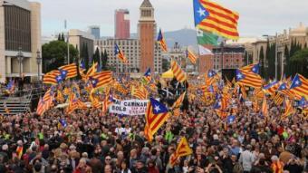 Una imatge de la manifestació de Barcelona del dia 13. ORIOL DURAN