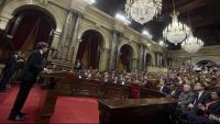 Carles Puigdemont, durant la seva intervenció al Parlament el 10 d'octubre del 2017