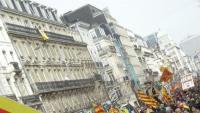 Participants en la manifestació  que es va fer a Brussel·les per reivindicar l'estat català, ja feu deu anys