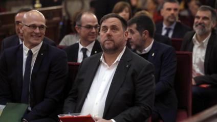 Oriol Junqueras durant la primera sessió del judici el 12 de febrer de 2019