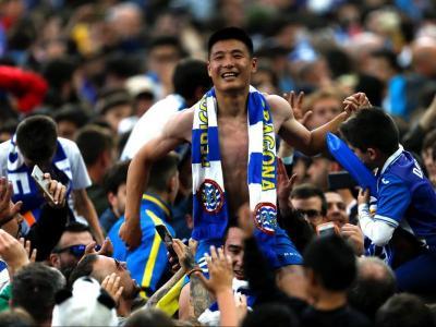 Wu Lei, la tarda icònica del 19 de maig, després d'aconseguir la classificació per a l'Europa League