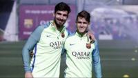 André Gomes i Denis Suárez, en una imatge d'arxiu, i Cucurella aquesta temporada amb l'Eibar