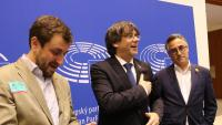 Toni Comín, Carles Puigdemont i Ramon Tremosa, en un acte fa uns dies