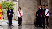 Torra i Colau, acompanyats de Maragall, Collboni, Valls i Artadi