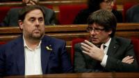 Oriol Junqueras i Carles Puigdemont en el Parlament de Catalunya