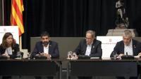 El president Torra , el conseller el Homrani i el secretari de Migracions, Oriol Amorós