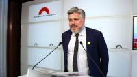 Albert Batet, portaveu de Junts per Catalunya, compareixia ahir al Parlament per valorar els pactes municipals
