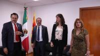 El conseller d'Acció Exterior, Alfred Bosch; el president de la Comissió de Relacions Exteriors de Mèxic, Alfredo Femat, la secretaria Mireia Borrell i la diputada Karina Rojo
