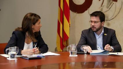 El vicepresident Aragonès i la portaveu Budó a la reunió de Govern