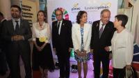 Els consellers Puigneró i Chacón amb el president Torra, la ministra Maroto, Josep González i la delegada del govern espanyol, Teresa Cunillera