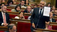 El portaveu de Cs, Carlos Carrizosa, en una intervenció al Parlament