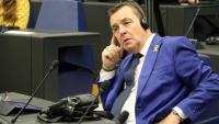 L'eurodiputat de l'NV-A, Mark Demesmaeker, durant l'acte sobre els presos polítics catalans al Parlament Europeu