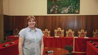 Agnès Lladó aquesta setmana a la sala de plens de Figueres