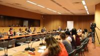 La conferència sobre el judici de l'1-O a la seu de l'ONU a Ginebra, amb Duncan McCausland, Jean-Philippe Ceppi, Dominique Nogueres i Txell Bonet