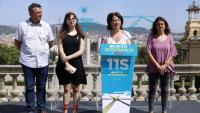 Josep Maria Cervera (AMI), Carla Soler i Elisenda Paluzie (ANC) i Montse Ortiz (Òmnium), ahir a Montjuïc