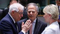 Josep Borrell, amb altres ministres d'Afers Estrangers, ahir a Brussel·les