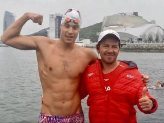 Guillem Pujol , amb el seu entrenador Sergi Garcia
