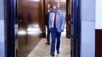 El president de la Generalitat, Quim Torra, sortint de la reunió de JxCat al Parlament