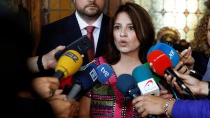 Adriana Lastra , vicesecretària general del PSOE, ahir, a Astúries.