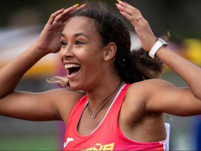 Maria Vicente després de proclamar-se campiona d'Europa sub-20 d'heptatló