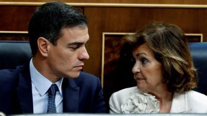 Pedro Sánchez i Carmen Calvo en el Congrés dels Diputats