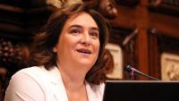 Ada Colau en un moment dels plens extraordinaris que ahir es van fer a l'ajuntament de Barcelona