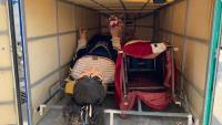 Remolc dels gegants del Vendrell, Salvador i Teresa, que uns desconeguts han robat del magatzem municipal