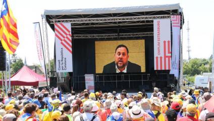 Oriol Junqueras intervé a través d'un vídeo en la manifestació a Estrasburg del 2 de juliol