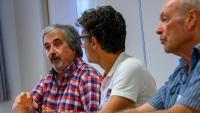 Els portaveus del Col·lectiu Primer d'Octubre, ahir a Prada