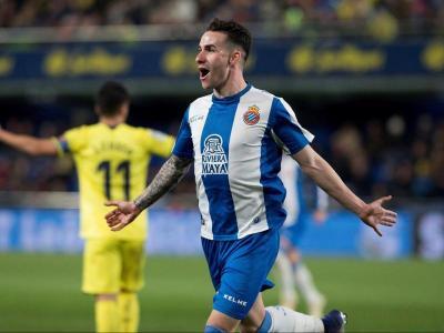 Álex López celebra el gol que va aconseguir el curs anterior davant el Vila-real.