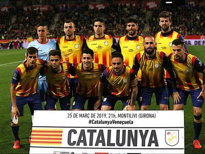 La selecció de futbol, en el partit contra Veneçuela de Girona.