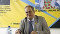 El president de la Generalitat, Quim Torra, dimarts, a la Universitat Catalana d'Estiu, a Prada