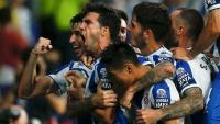 Javi López celebrant amb ràbia el segon gol de l'Espanyol contra el Zorya