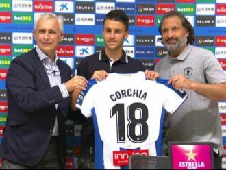 Sébastien Corchia, aquest matí, en la seva presentació com a nou jugador de l'Espanyol.