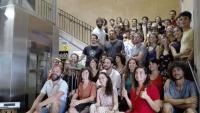 Foto de família d'artistes que intervenen en la temporada del Maldà , ara fa unes setmanes
