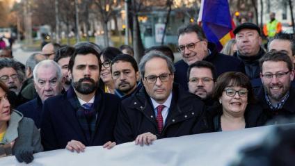 Torrent i Torra, encapçalant una concentració a Madrid de suport als presos