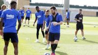 Una imatge de Messi en l'entrenament d'ahir al matí, a la ciutat esportiva del FC Barcelona