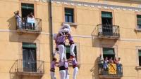 L'imponent 4 de 9 net de la Colla Vella, el 5 de 9 de la Jove Xiquets de Tarragona i la torre de 9 dels Castellers de Vilafranca, ahir a la plaça de la Font