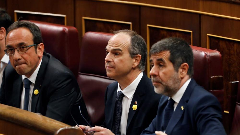 Jordi Turull i Jordi Sànchez, a l'inici de la sessió de constitució de les noves Corts Generals el maig passat