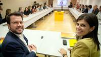 La nova direcció d'ERC, sorgida de les eleccions de diumenge, es va reunir ahir per primer cop, en connexió amb Rovira i liderada per Aragonès i Vilalta