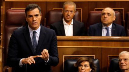 El líder del PSOE i president del govern espanyol en funcions, Pedro Sánchez, al Congrés dels Diputats