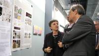 La directora del sincrotró Alba, Caterina Biscari, en la visita d'ahir amb Quim Torra