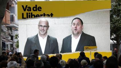 Raül romeva i Oriol Junqueras en una videoconferència en la campanya electoral del28-A