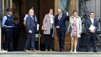 El president de la Generalitat, Quim Torra, en una de les seves compareixences al TSJC