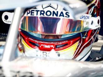 Lewis Hamilton durant els entrenaments lliures d'avui