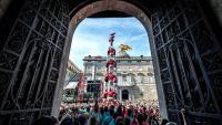 Els Castellers de Barcelona durant l'actuació d'aquest diumenge