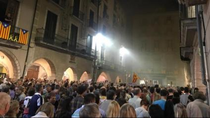 Aspecte de la concentració a la plaça del vi de Girona