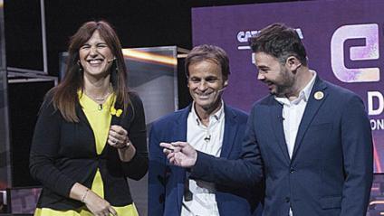 Borràs i Rufián, en el debat televisiu durant les eleccions del 28-A