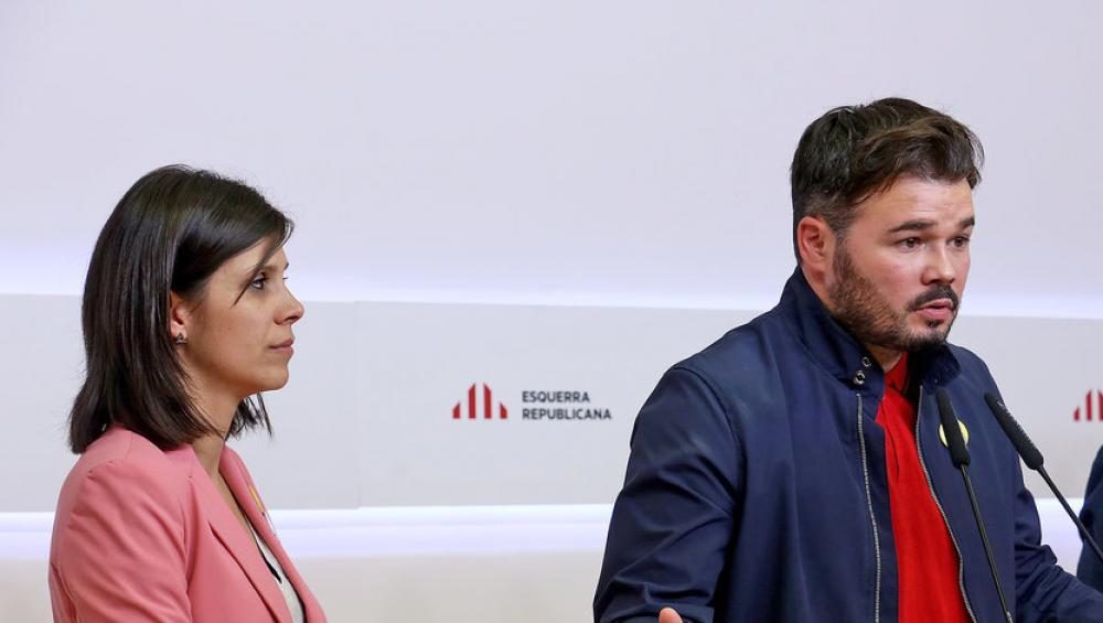 Vilalta i Rufián en una roda de premsa a la seu del partit