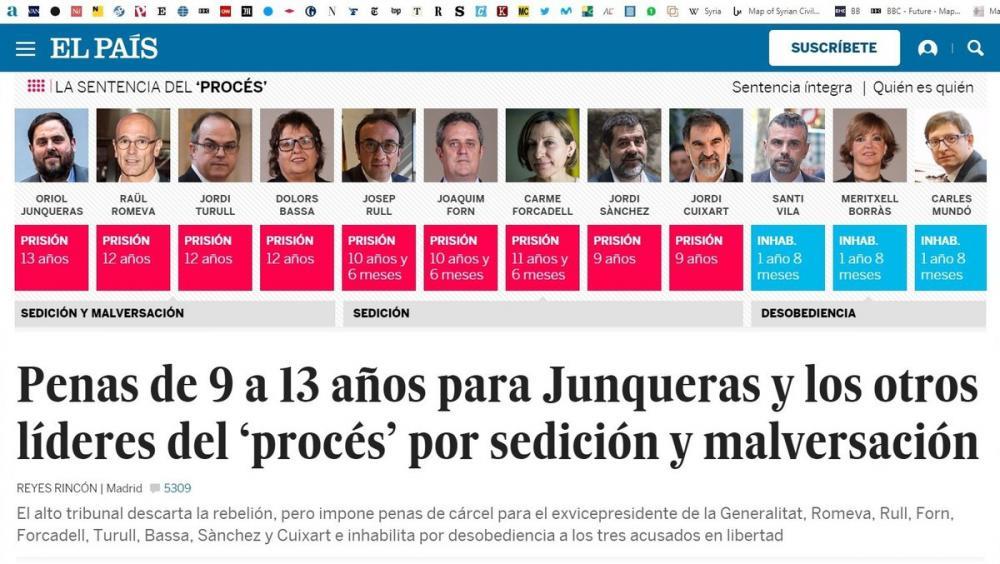 """La portada digital d'""""El País""""."""